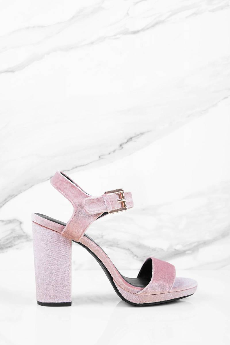 Other Way Blush Velvet Heels