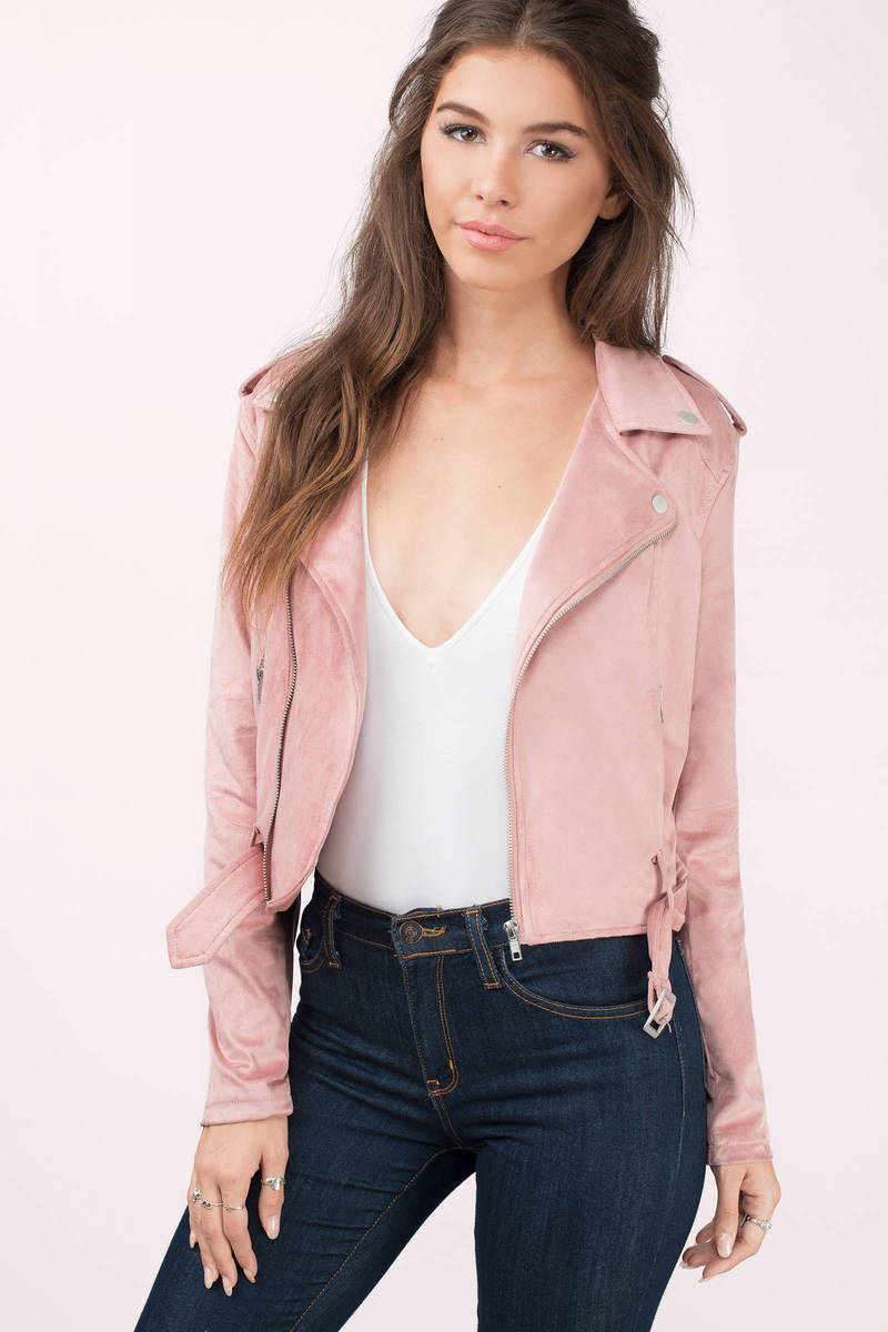 Ride On Blush Faux Suede Moto Jacket