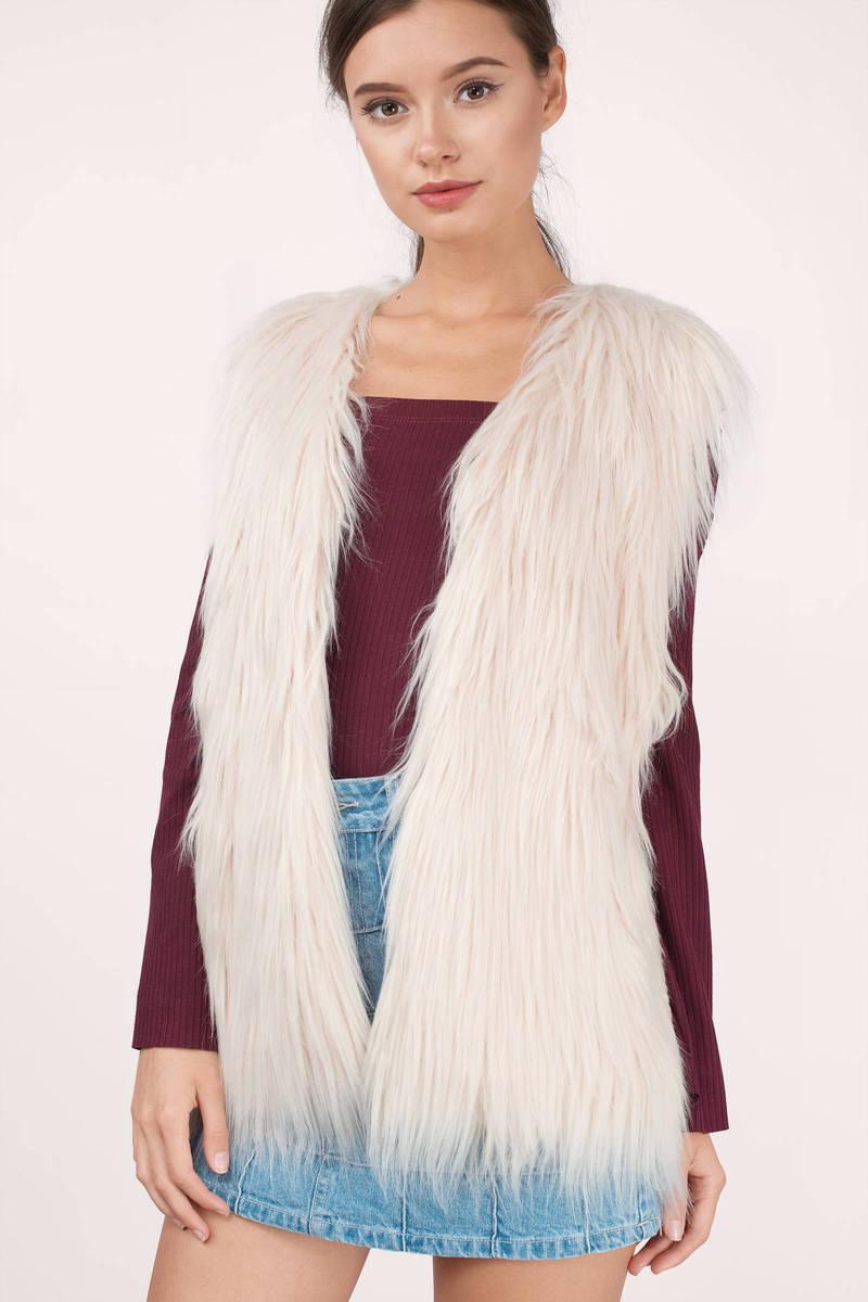 Roxanne Blush Faux Fur Vest