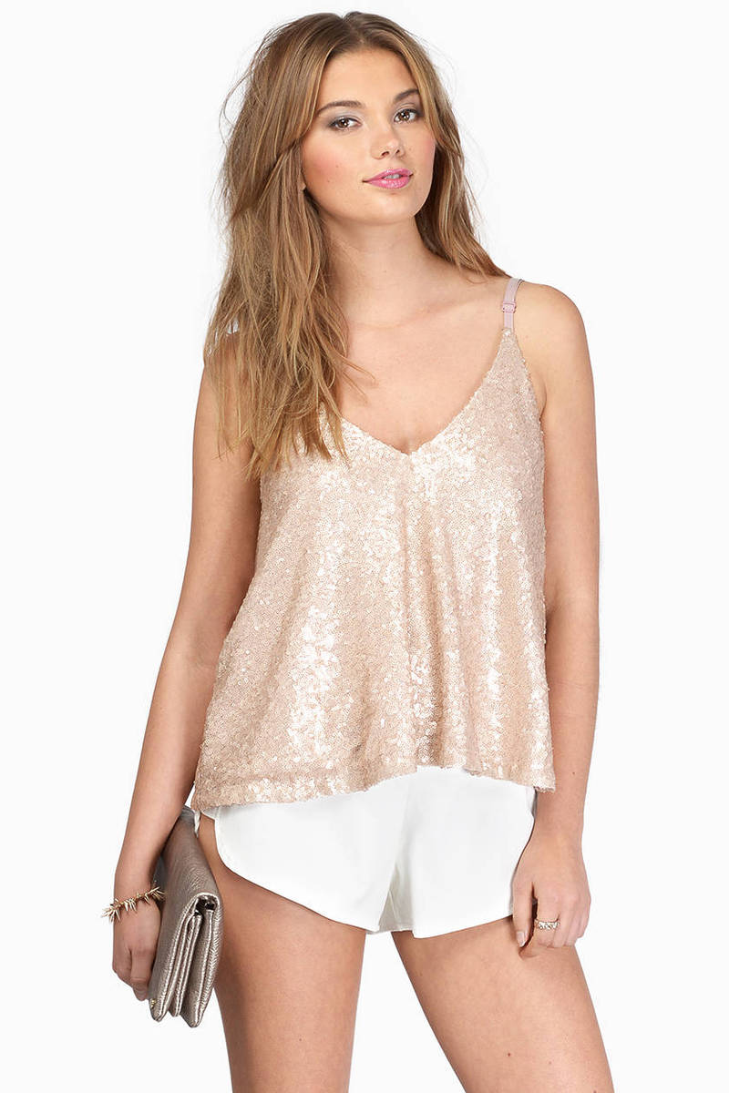 Shana Matte Gold Sequin Deep Back Flowy Top