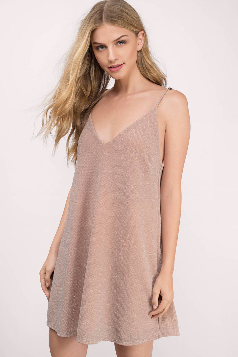 Shine On Blush Metallic Ribbed Shift Dress
