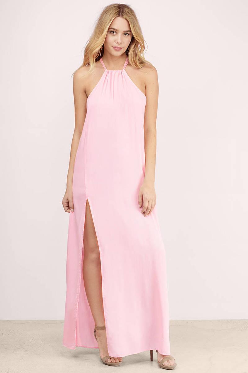 Slit Second Blush Maxi Dress
