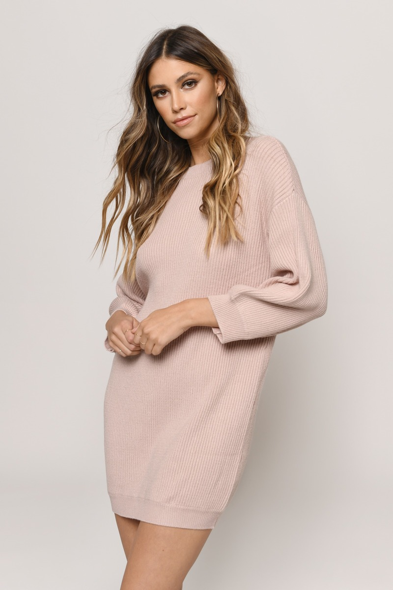 864c50fb40b Blush Pink Casual Dress - Crew Neck Sweater - Blush Pink Sweater ...