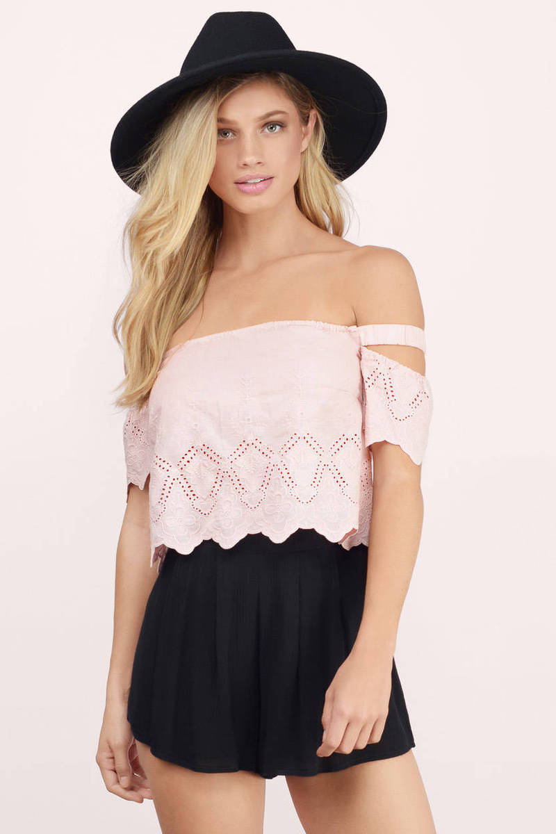 035b72f5744d1 Cute Blush Crop Top - Off Shoulder Top - Pink Top - Blush Crop Top ...