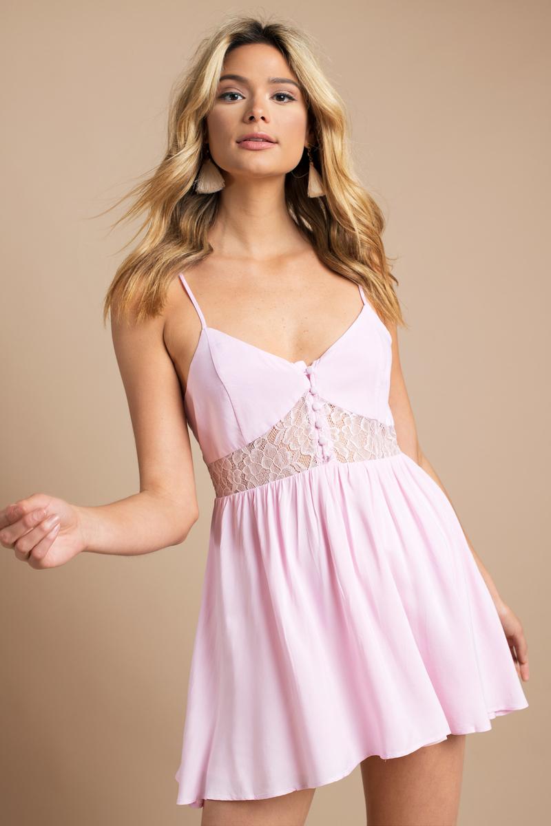 534400c2706 Blush Pink Dress - Lace Inset Dress - Cute Skater Dress - Day Dress ...