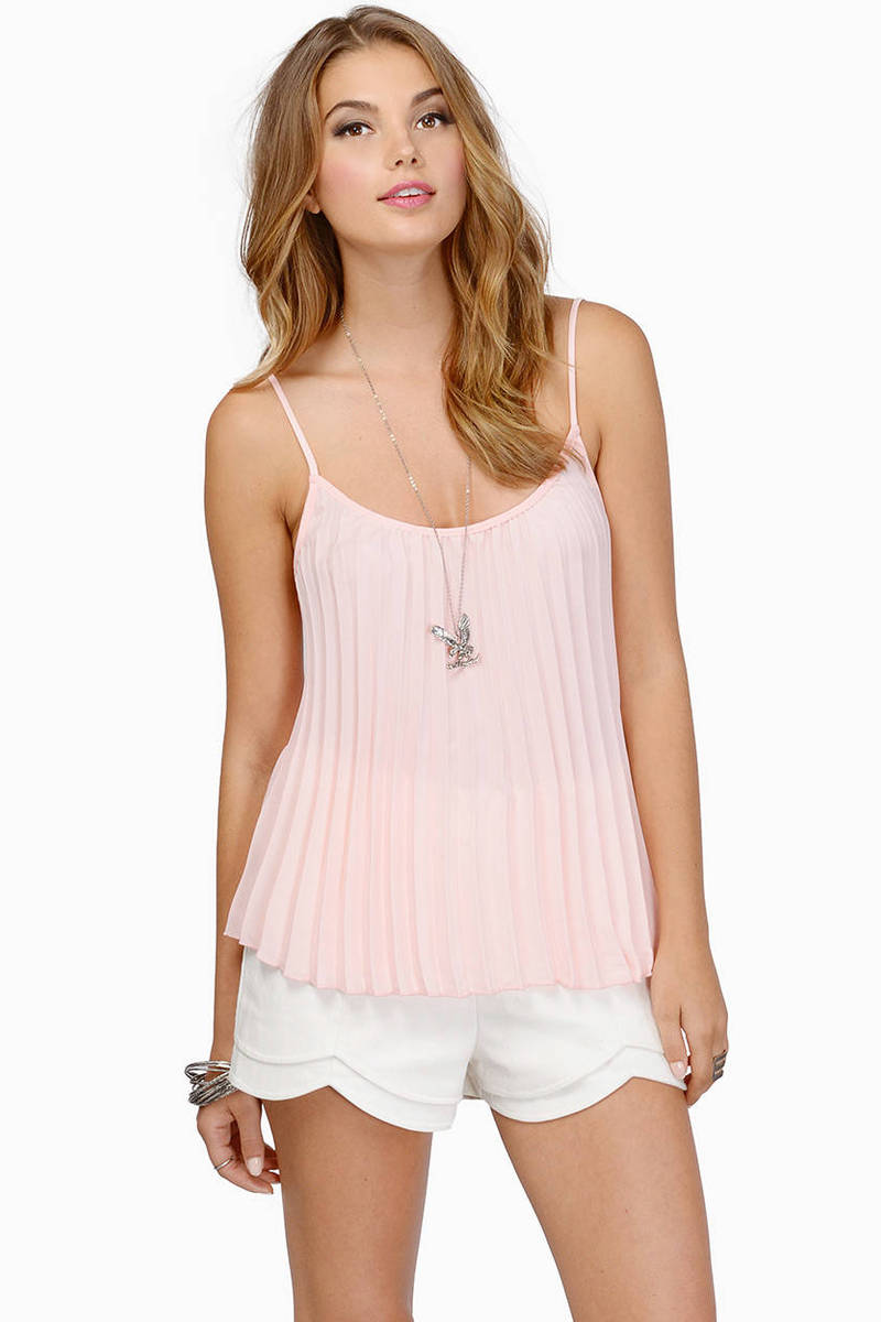 Sweet Pleats Blush Tank Top