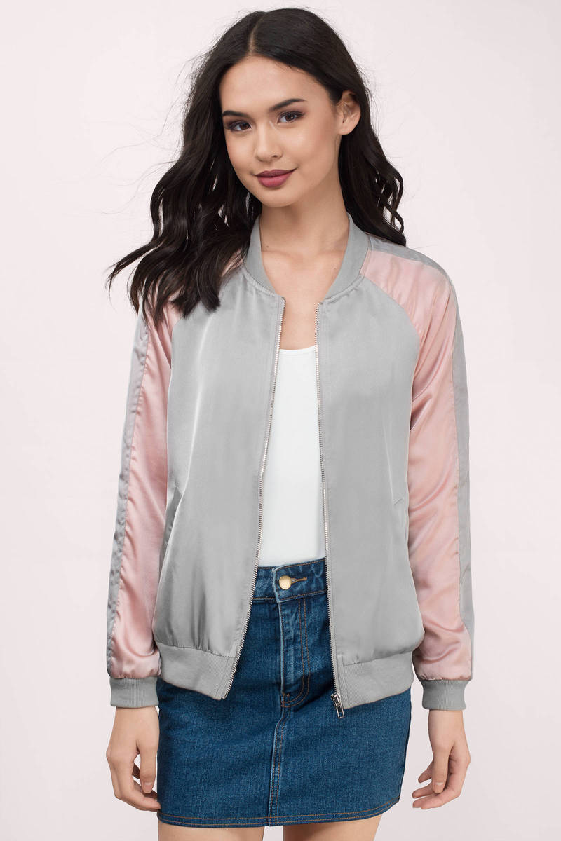 Joa Joa Tammy Blush Satin Bomber Jacket