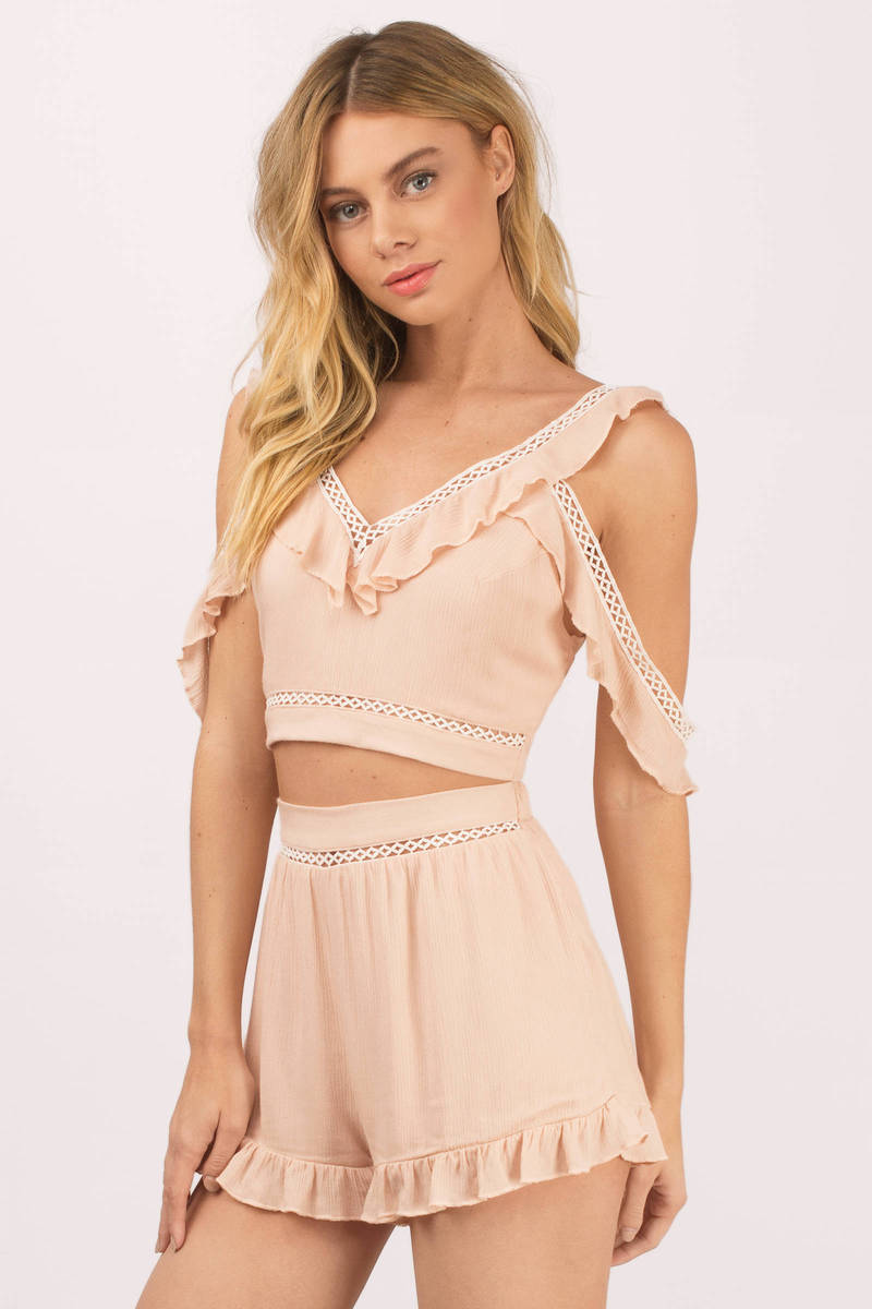 Tell Me Blush Ruffle Romper Set