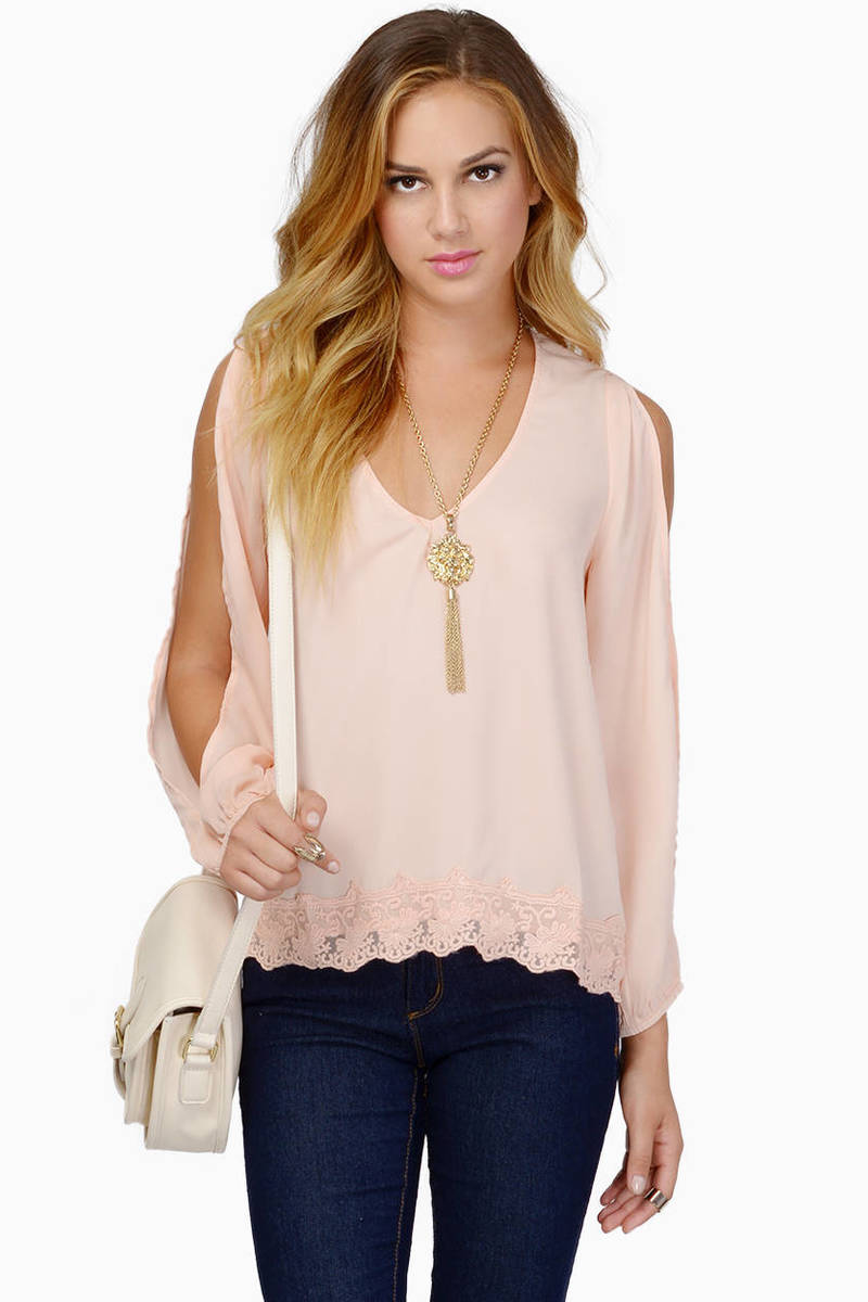 Trimmed Avenues Blush Blouse