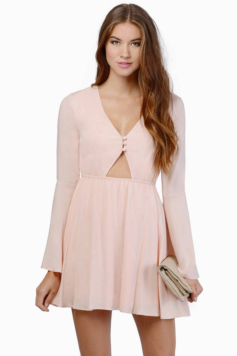 Up My Sleeve Blush Skater Dress