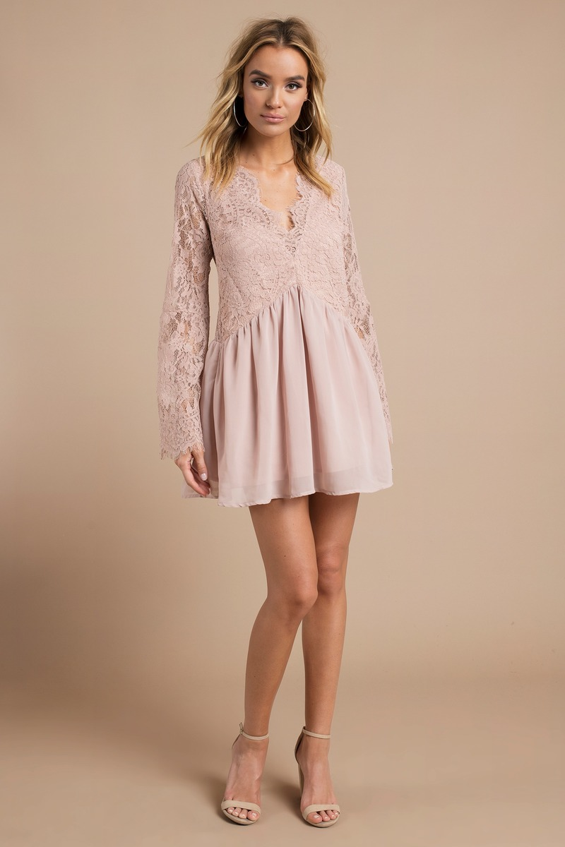 8fd26fce30711 Blush Shift Dress - Pink Dress - Bell Sleeve Dress - Half Lace Dress ...