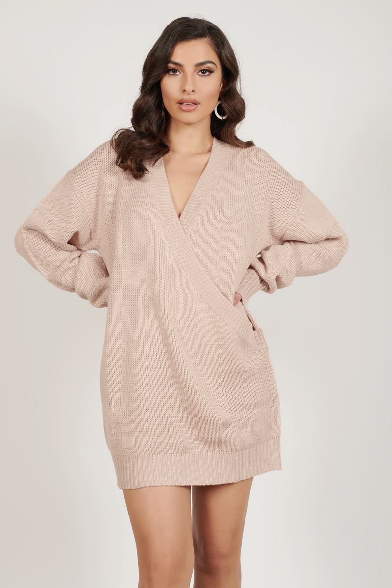 2139685e2bd Cute Blush Dress - Deep V - Blush Oversized Sweater -  34
