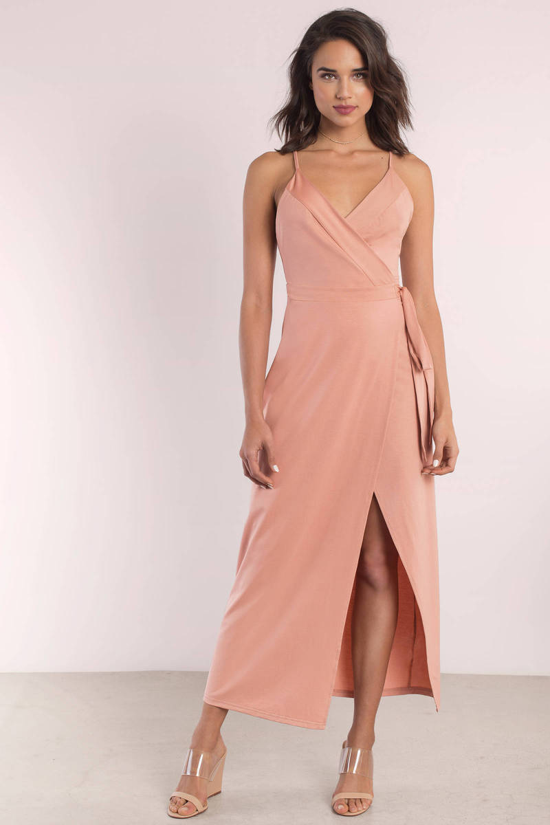 Wyldr Wrap Over Me Blush Maxi Dress