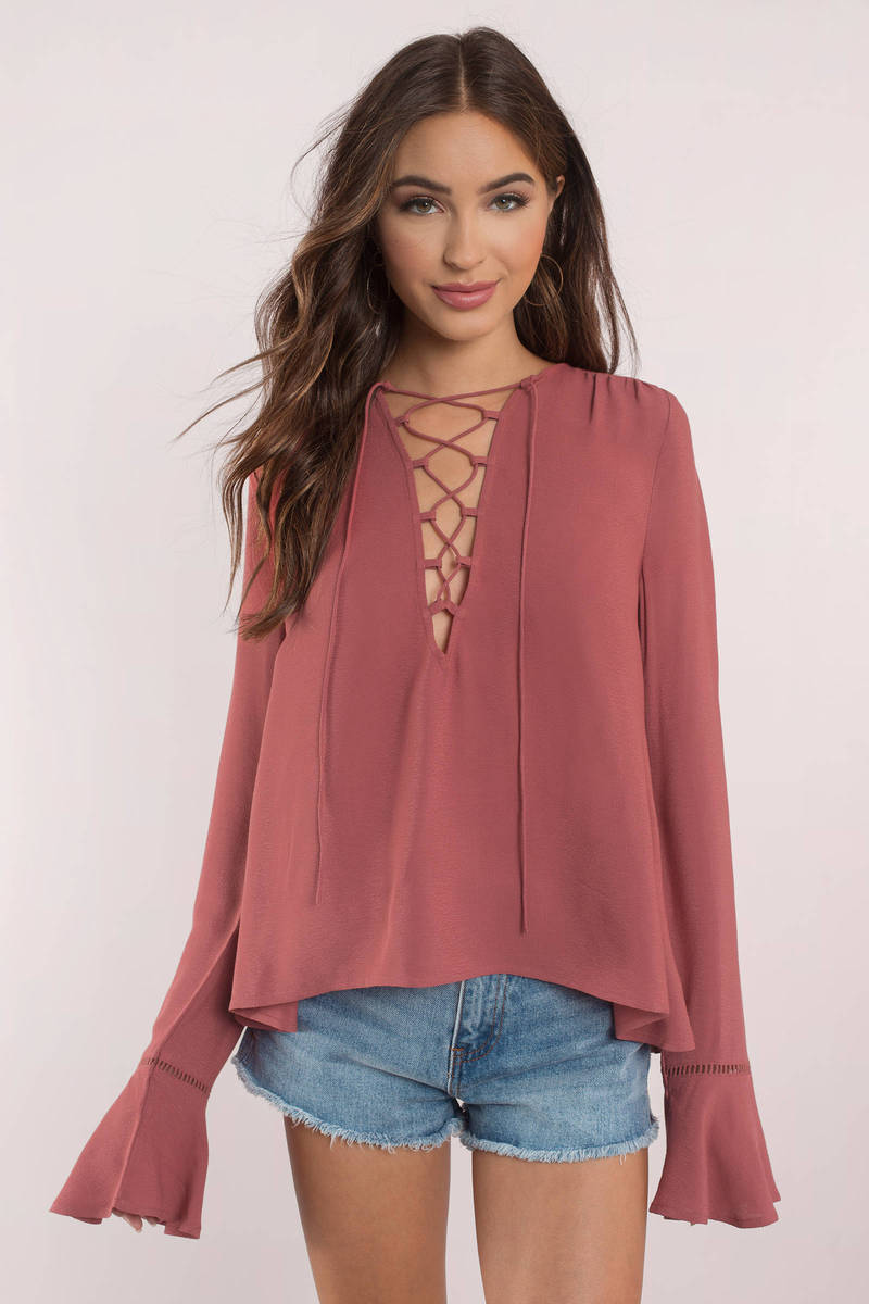 bfac467dbd224 Cute Top - Bell Sleeve Top - Lace Up Top - Orange Blouse -  23