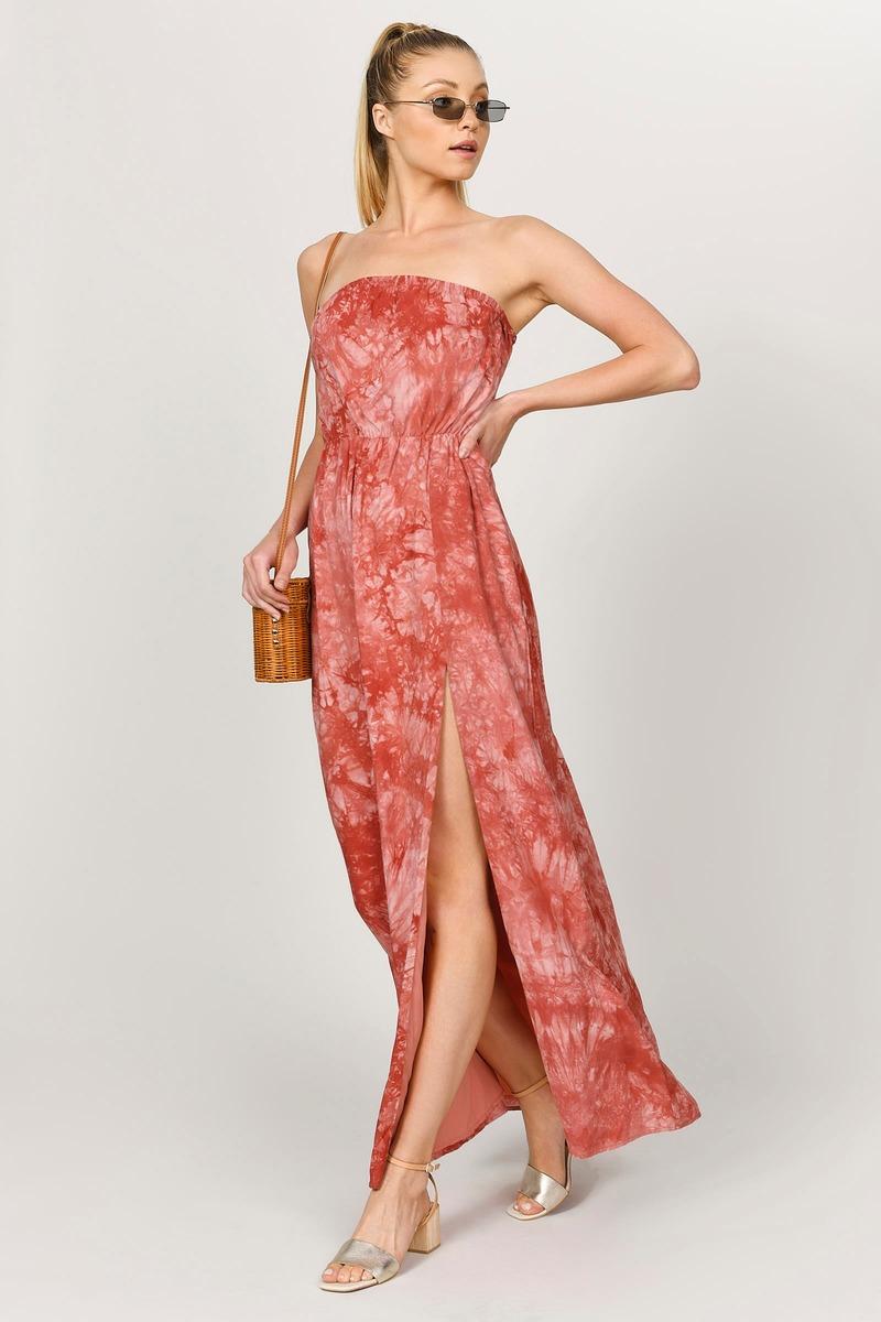 7d74be719f Cute Maxi Dress - Sleeveless Dress - Orange Dress - Boho Tie Dye ...