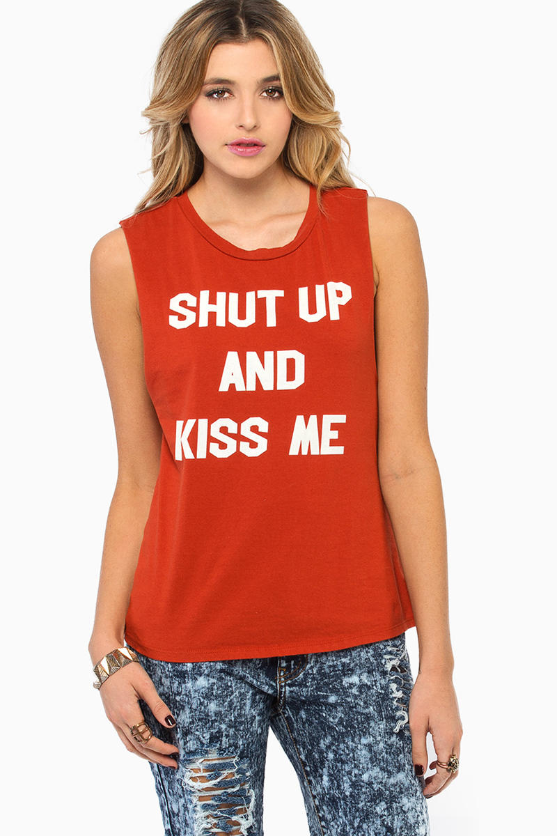 Morning Warrior Shut Up and Kiss Me Tank Top