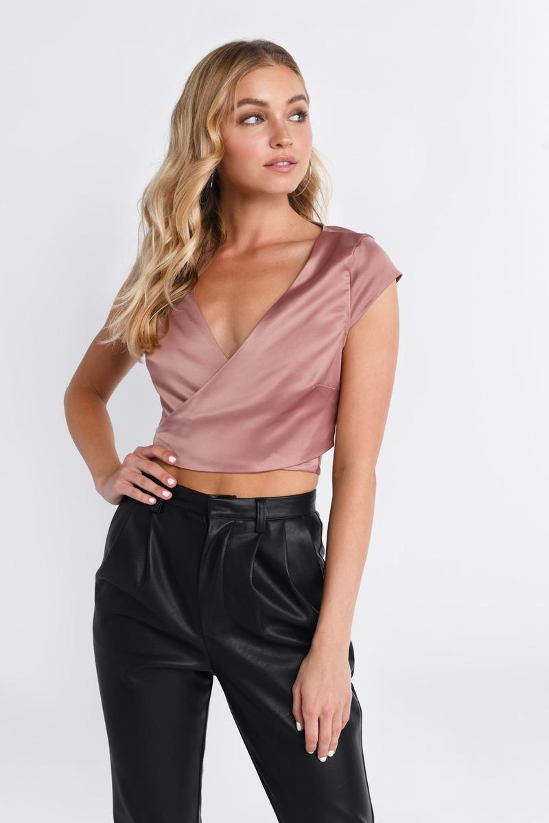 20e2855e8e5cd Rose Gold Top - Satin Shirt - Rose Gold Wrap Crop Top - £21