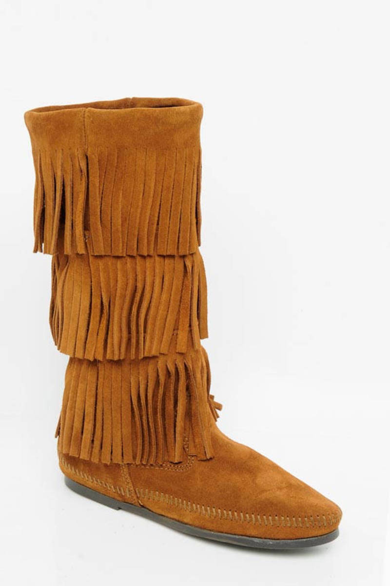 Brown Minnetonka Boots - Fringe Tiered