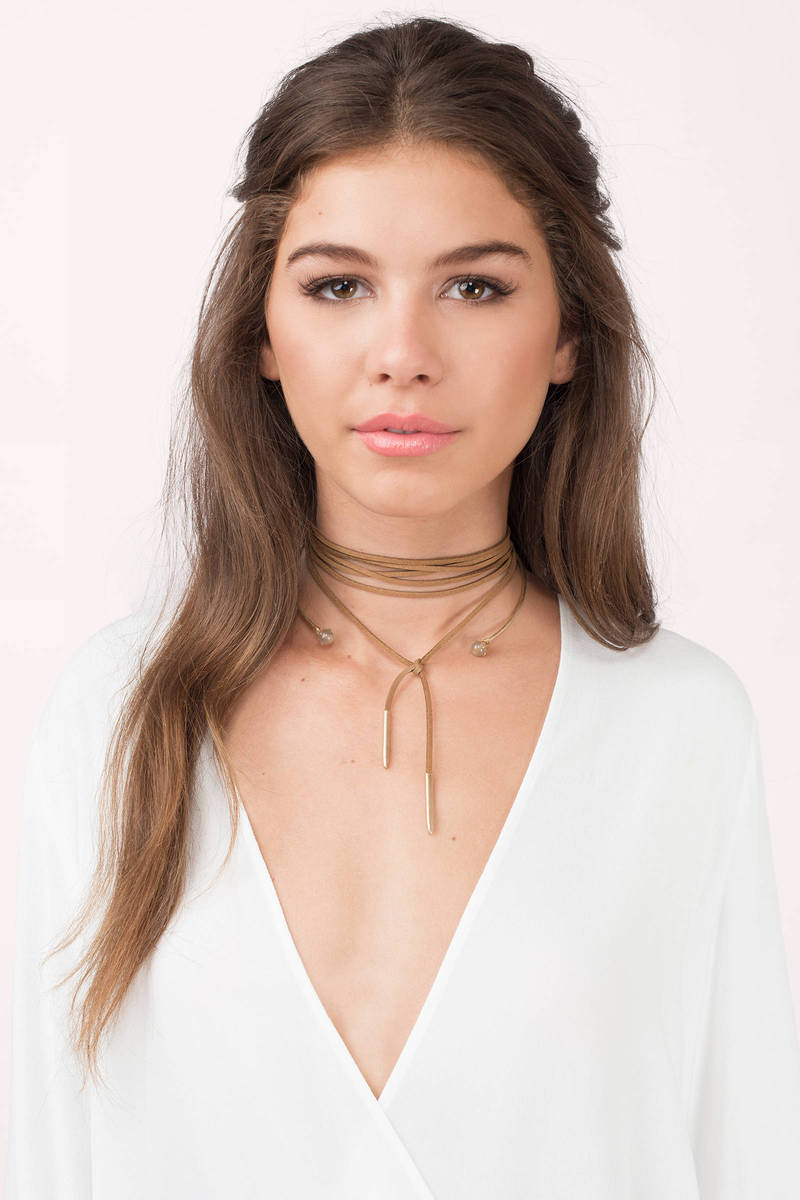 8 Other Reasons x Tobi Labrynth Brown & Gold Choker Set