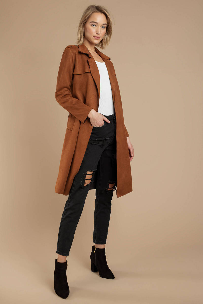 top-rated real sale online enjoy lowest price Just For Tonight Suede Trench Coat