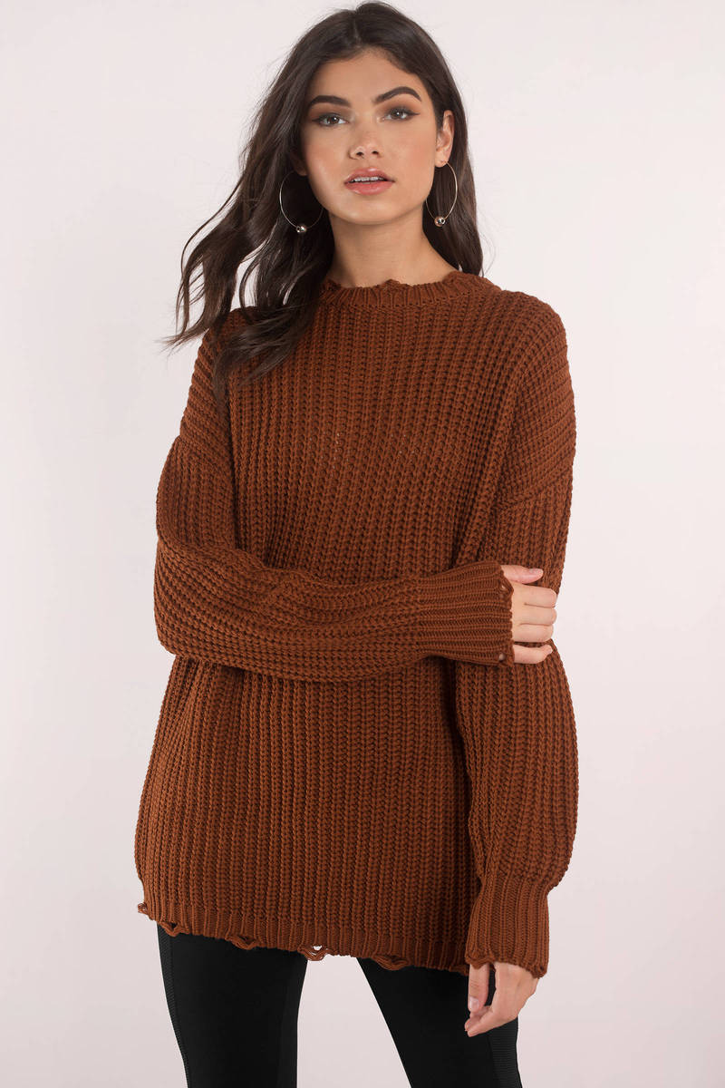 Moon River Leslie Brown Oversized Sweater - € 72 | Tobi NL
