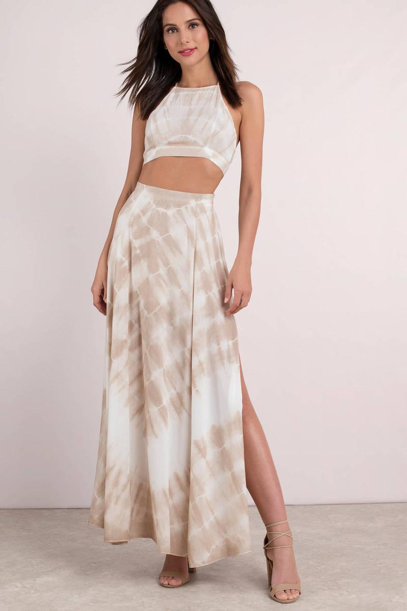aefba162af5 Brown Skirt - Side Split Maxi Skirt - Brown Tie Dye Skirt -  58 ...