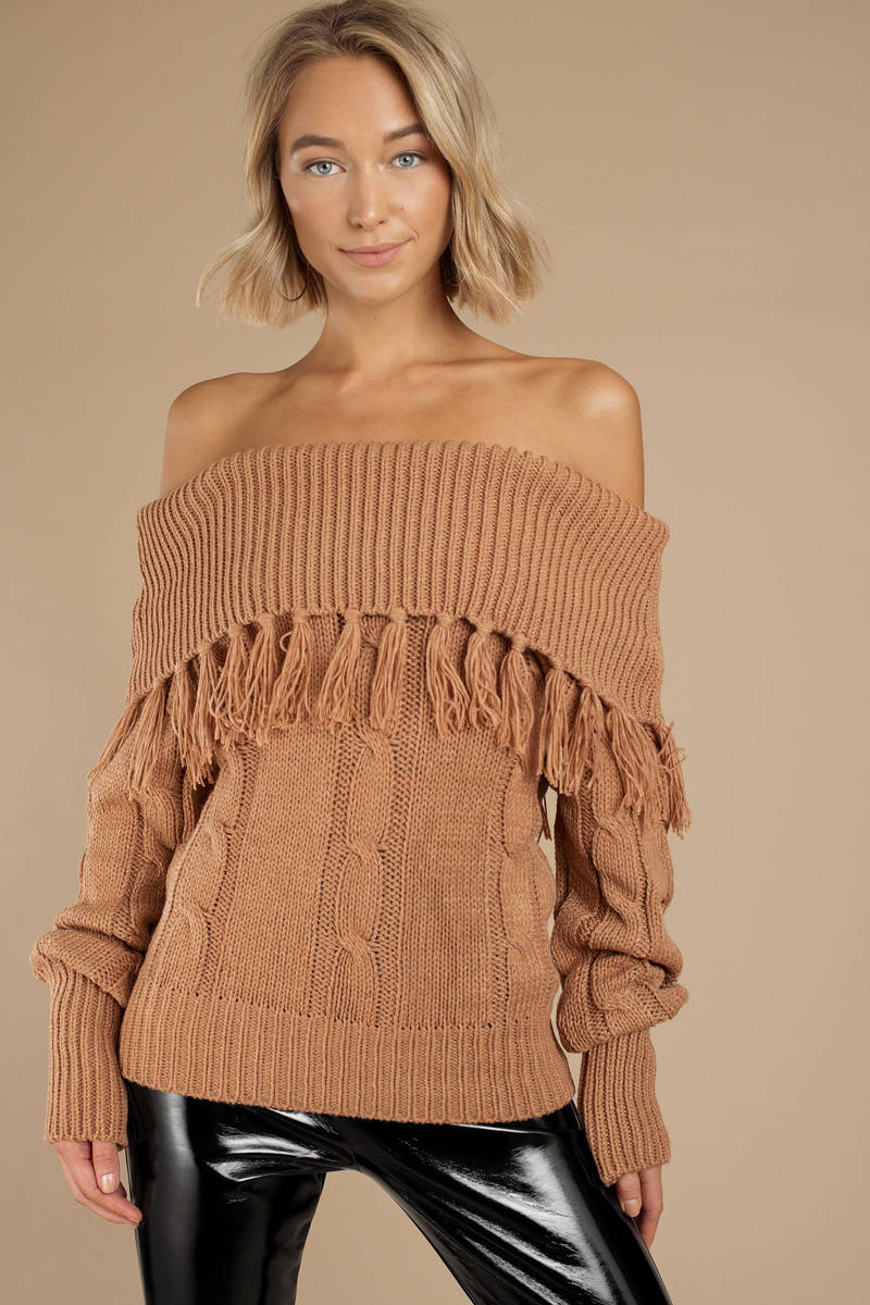 826f183fde0c3 Brown Lucca Couture Sweater - Fringe Sweater - Brown Off Shoulder ...