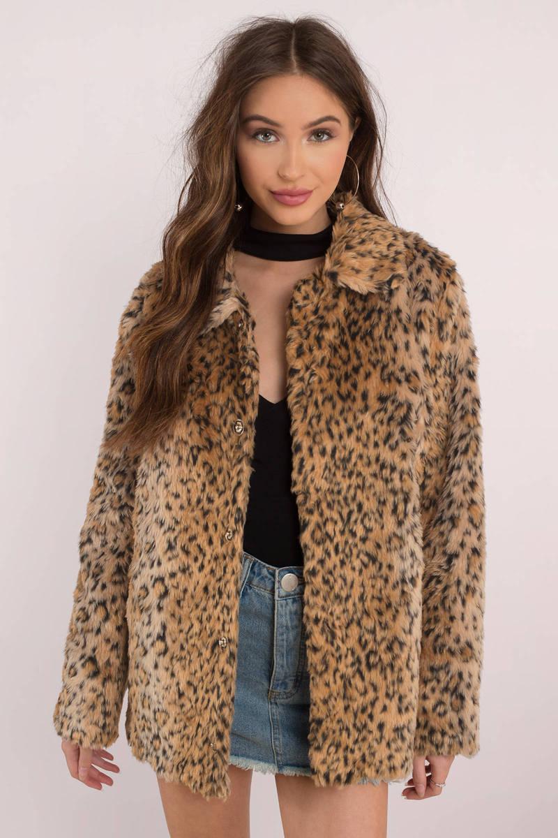 42e84eb8b2e1 Cozy Brown Coat - Faux Leopard Print Coat - Brown Furry Coat -  128 ...