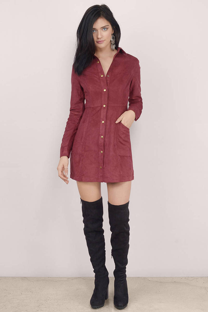 Abbey Road Faux Suede Shirt Dress