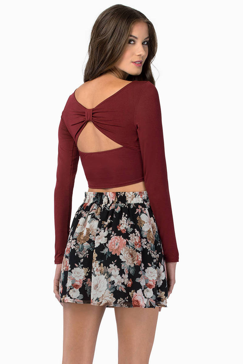 Back Bow Burgundy Crop Top
