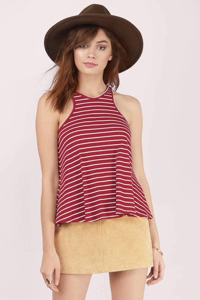 Between The Lines Burgundy Striped Tank Top
