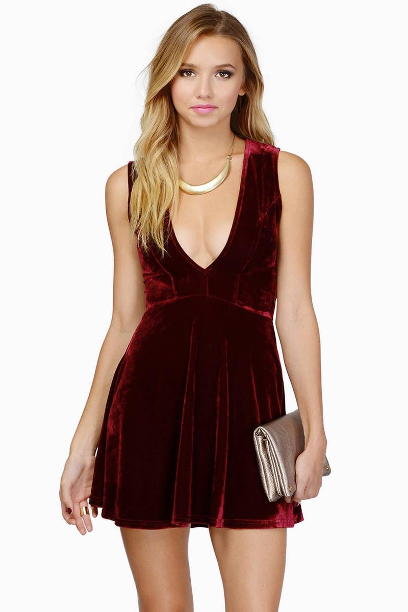 Dark and Deep V Velour Dress