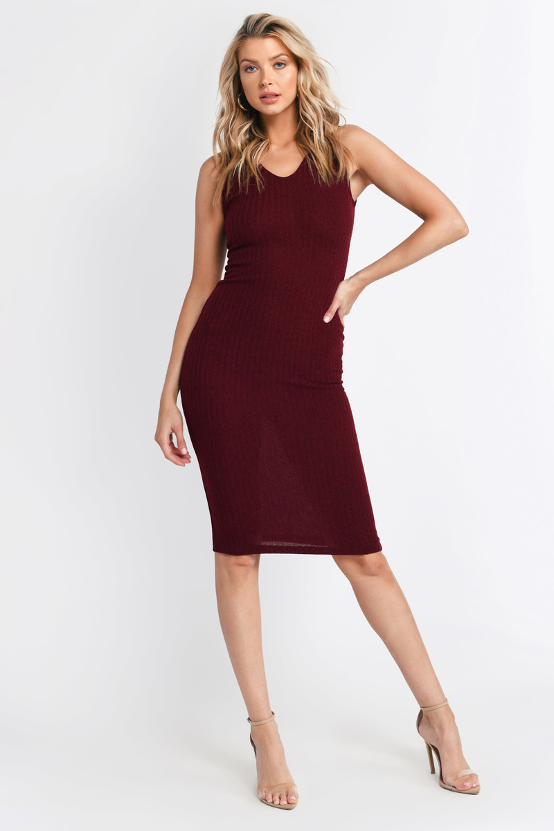 08068f277a Cute Burgundy Dress - Ribbed Dress - Sleeveless Hooded Dress - Day ...