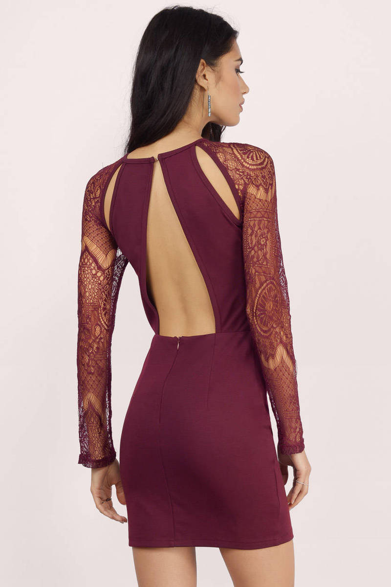 b89554e8dad Sexy Burgundy Bodycon Dress - Long Sleeve Dress - Bodycon Dress - kr ...