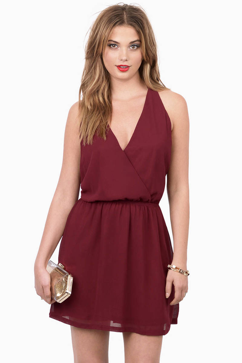 In Between Burgundy Lace Skater Dress