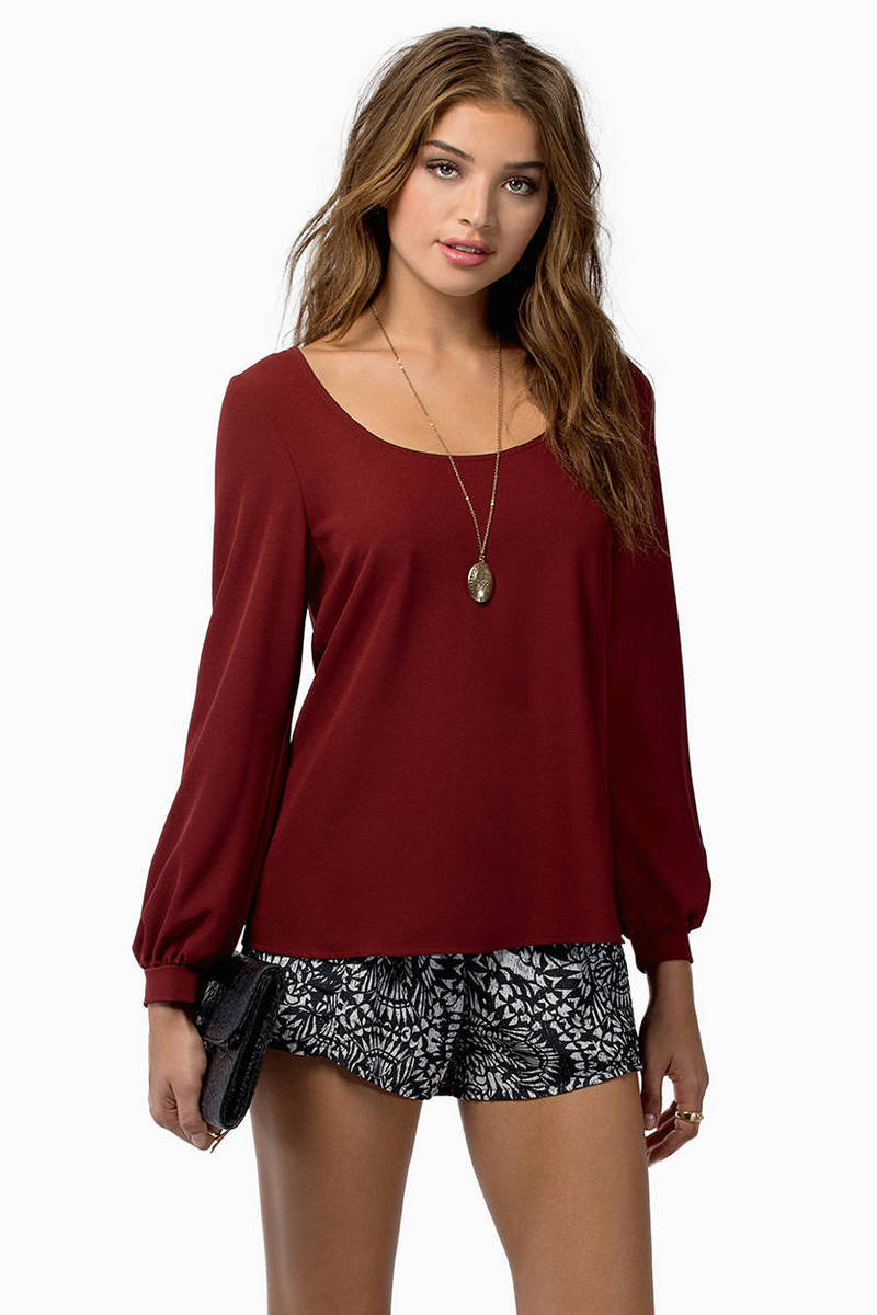 Less Is Amour Burgundy Chiffon Blouse