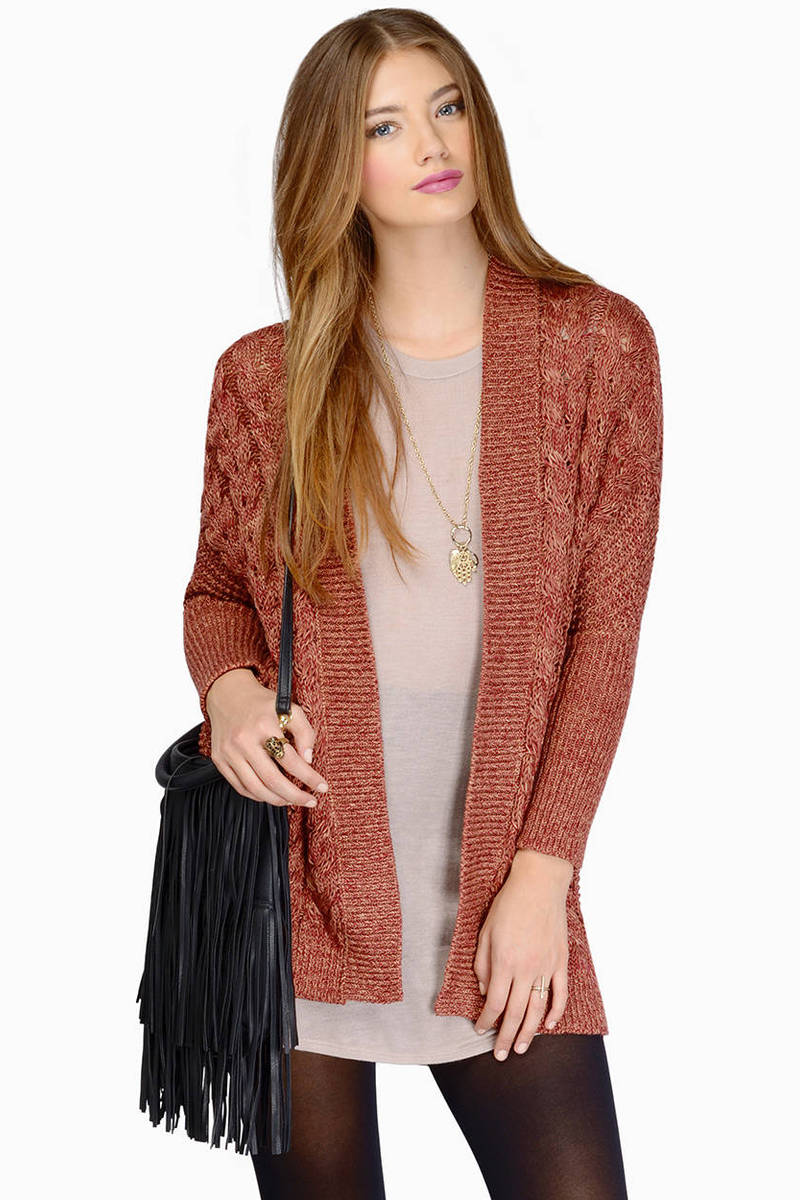 Long Walks Taupe Knitted Cardigan