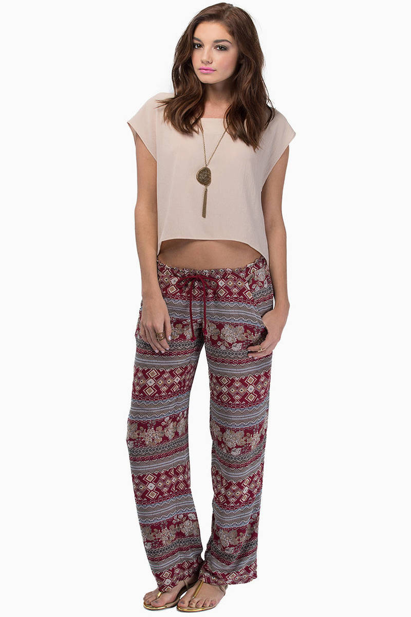 Midnight Memories Burgundy Aztec Print Pants