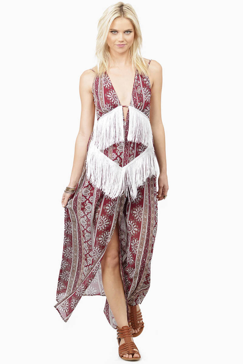 One Of A Kind Burgundy Multi Maxi Dress