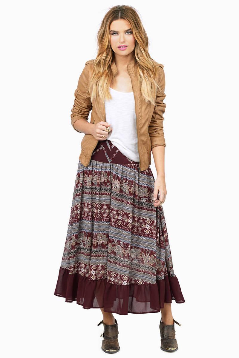 Skippin Town Burgundy Multi Printed Skirt