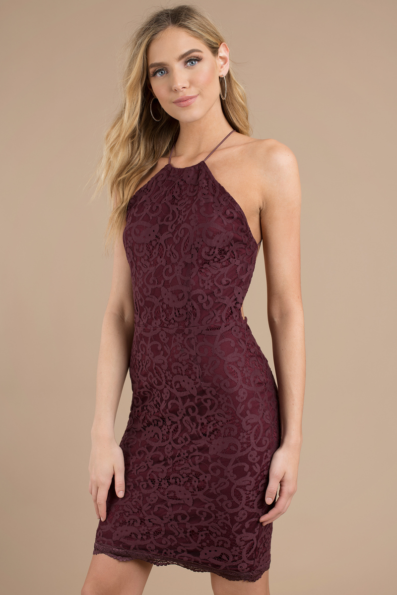 Burgundy Dress Backless Dress Purple Jacquard Dress