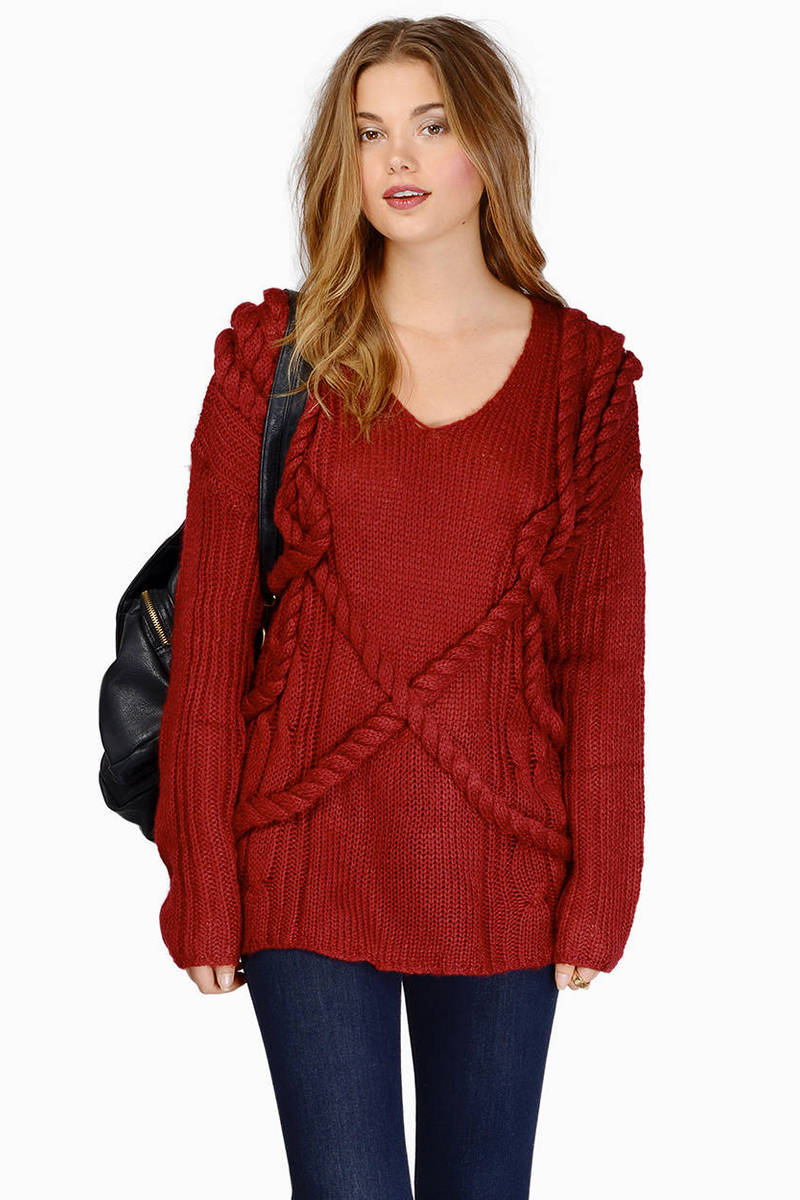 Burgundy Sweater - Long Sleeve Sweater - Burgundy Knit Sweater ...
