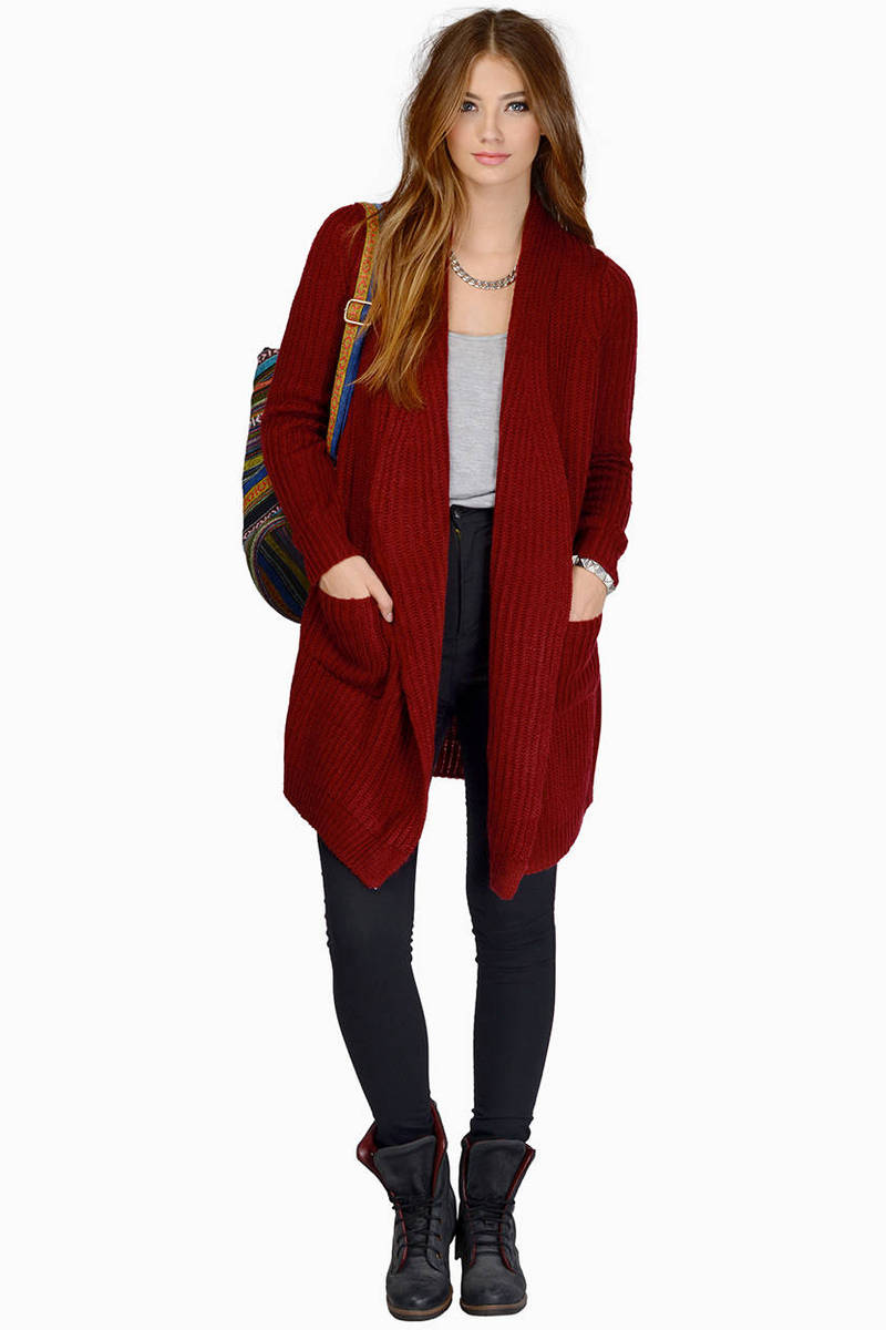 Burgundy Cardigan - Long Sleeve Cardigan - Burgundy Sweater - $20 ...