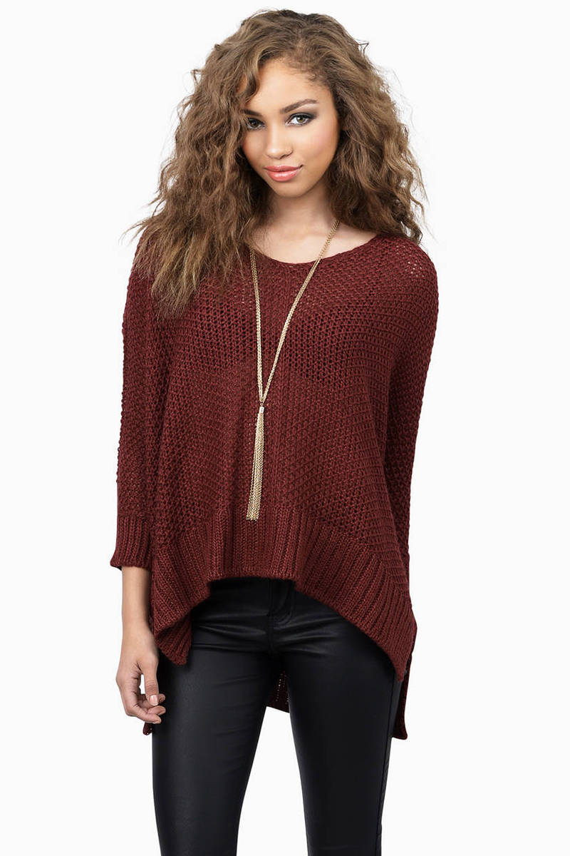 Cheap Burgundy Sweater - Red Sweater - Knitted Sweater - $39.00