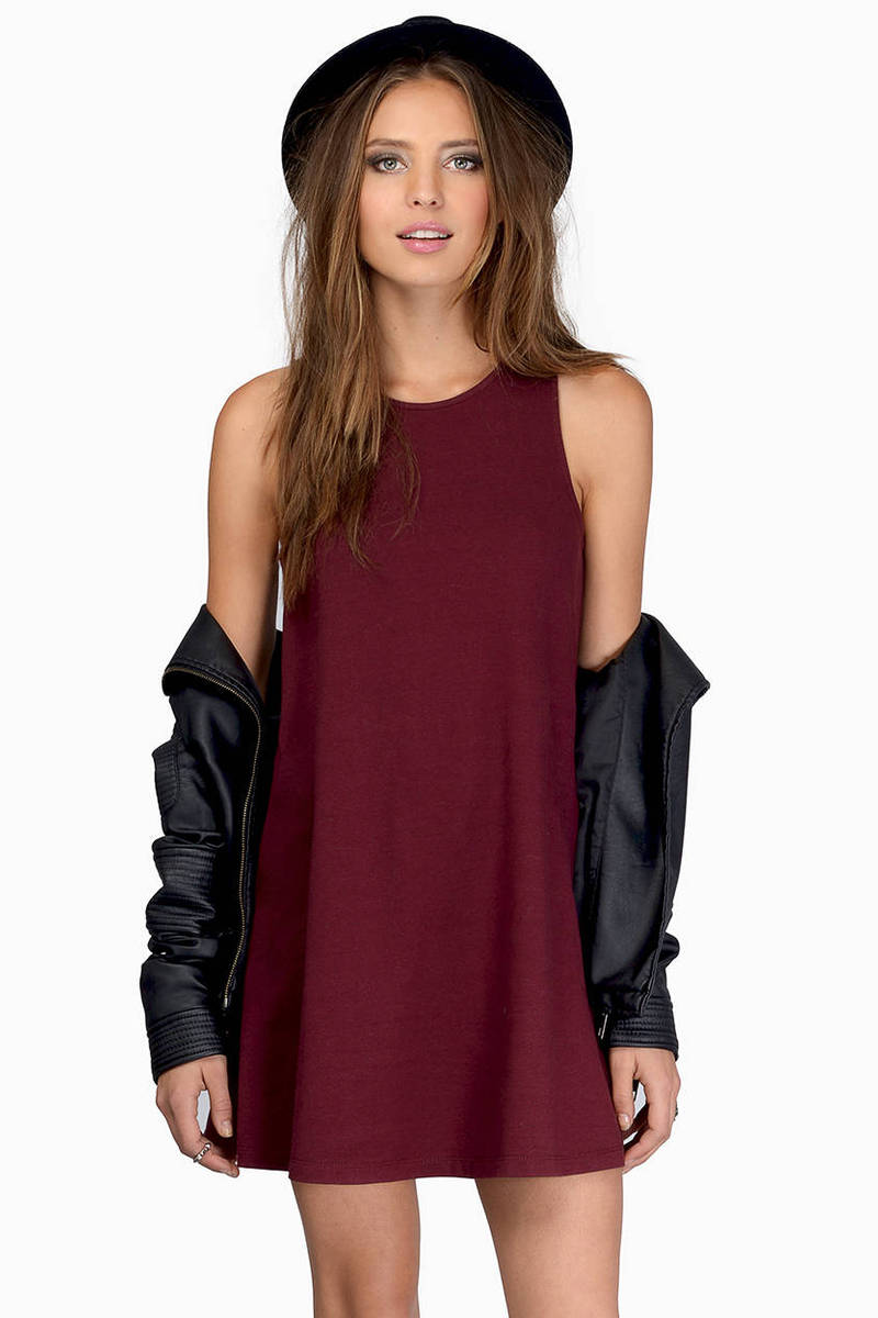 Tarna Burgundy U Neck Tunic Day Dress
