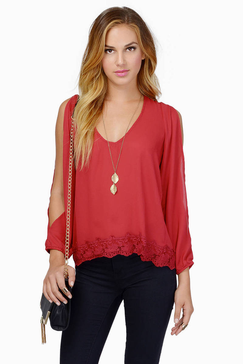 Trimmed Avenues Burgundy Blouse