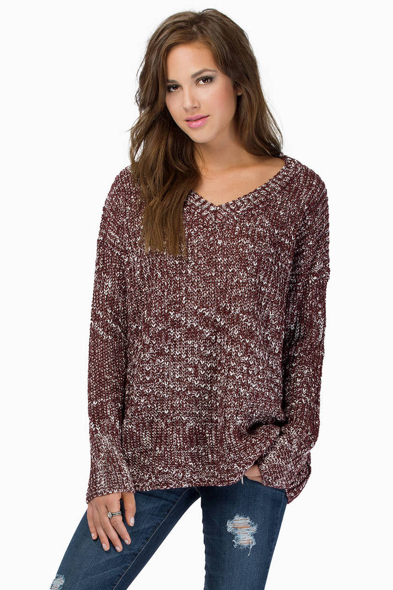 V Neck Marled Sweater