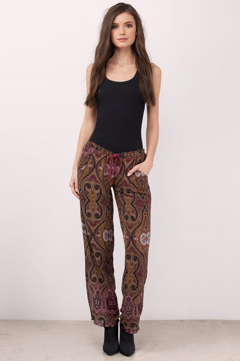 What We Want Burgundy Paisley Pants