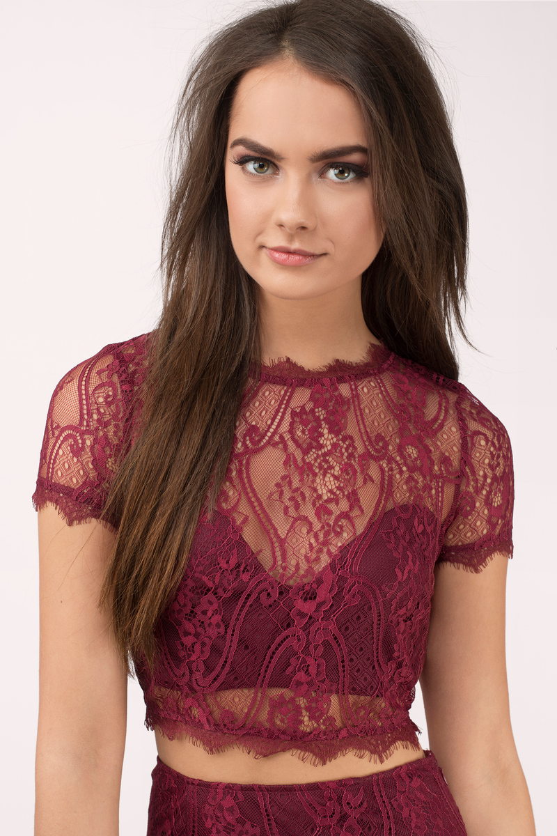 48c4caff10e6b Sexy Burgundy Crop Top - Red Top - Eyelet Top - Burgundy Crop Top ...