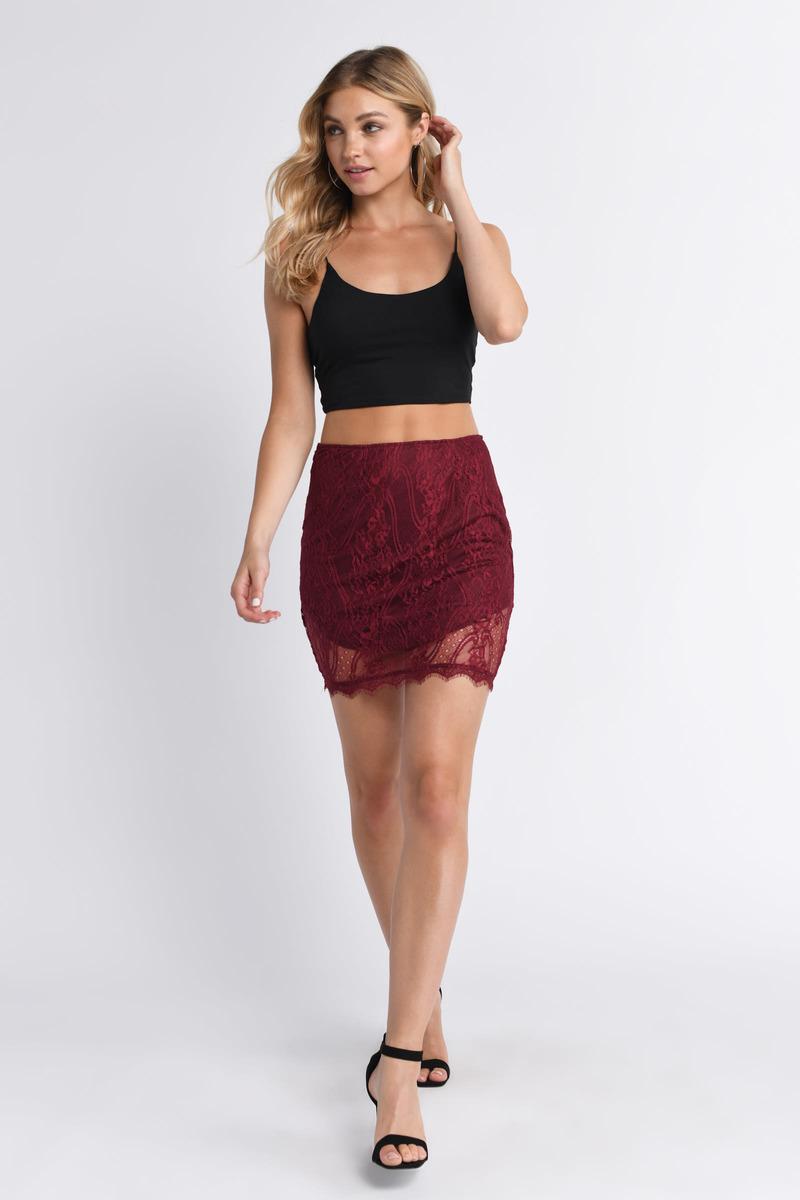 931c23e714 Trendy Red Skirt - Lace Trim Skirt - High Waisted Skirt - $10 | Tobi US